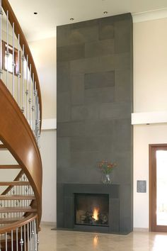 Modern and Unique Fireplace Mantel Kits: Modern Block Cast Concrete Fireplace Hallway ~ bidycandy.com Interior Inspiration Fireplace Mantel Kits, Modern Fireplace Mantels, Two Story Fireplace, Stone Fireplace Designs, Fireplace Tile Surround, Grey Fireplace, Concrete Fireplace, Fireplace Surrounds, Modern Fireplaces