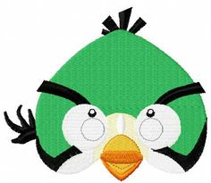 Angry birds green embroidery design. Machine embroidery design. www.embroideres.com