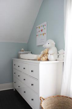 Ikea Hemnes dresser in white as nursery change table - BM Woodlawn Blue nursery
