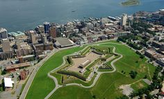 Aerial view of Halifax Citadel and downtown Halifax Halifax Citadel, Nova Scotia Tourism, Halifax Canada, Star Fort, Parks Canada, Public Garden, Online Travel, Fortification, Historical Sites