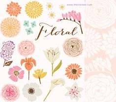 Pretty for DIY cards. Floral clip art and photoshop brushes from The Ink Nest
