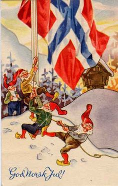 god norsk jul - Thank you Norsk Gnomes for your proud patriotic display of your beautiful flag of Norway!
