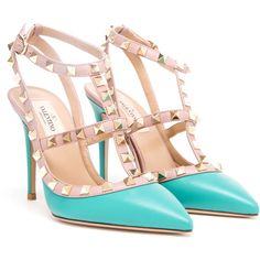 VALENTINO Rockstud Matte Leather Heels (270 KWD) ❤ liked on Polyvore featuring shoes, pumps, heels, sapatos, scarpe, pointed toe ankle strap pumps, valentino pumps, leather pumps, pointy toe ankle strap pumps and pointy-toe pumps