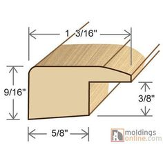 """Moldings Online 0.59"""" x 1.19"""" x 72"""" Square Nose"""