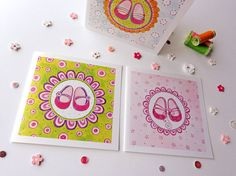 Girl's Birthday Square Greeting Card Set. by BeijosdeAlgodao