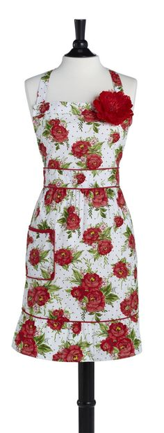 Cottage Rose Red Courtney Apron • Aprons • Kitchen • Jessie Steele
