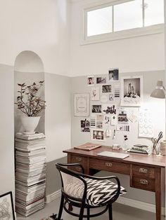 Super-Stylish Scandinavian Home [office] Workspace Inspiration, Interior Inspiration, Design Inspiration, Interior Ideas, Casa Mix, Home Office Design, House Design, Half Painted Walls, Home Decoracion
