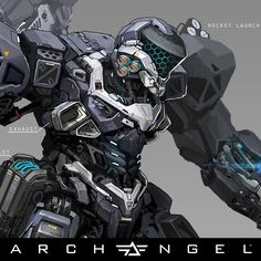 Here are some concepts I've done for the Archangel Mech. Final version was touched up by many other artists, but I've done the earlier paintings, and the proxy model.