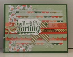 Greeting Card Hello Darling Handmade Hello Floral Thinking of You Wife Sister Daughter Mom Hand Stamped in Green Pink Coral Light Green  This