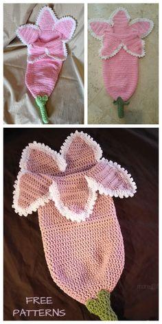 Crochet Spring Flower Newborn Cocoon Free Crochet Pattern Crochet Baby Cocoon Pattern, Crochet Leaf Patterns, Newborn Crochet, Baby Blanket Crochet, Baby Girl Patterns, Baby Kind, Diy Crochet, Diys, Costume