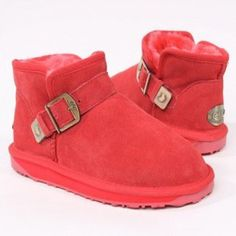 Lady's Nubuck Leather Fashion Boots with Buckle, Designer Winter Snow Boots