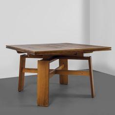 Silvio Coppola; Extendable Walnut Dining Table for Bernini, 1964.
