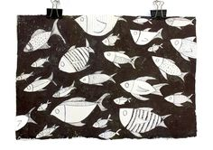 Fish on textured paper