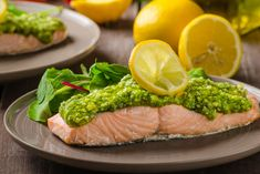 Recipes for Your Daily - Nhorecipe: Salmon Rolls in a Pesto Crust Recipe Pesto Salmon, Cilantro Pesto, Protein, Steamed Broccoli, Crust Recipe, Fish And Seafood, Salmon Recipes, Gourmet, Healthy Recipes