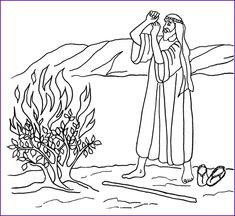 Moses and the burning bush. Bible coloring pages.