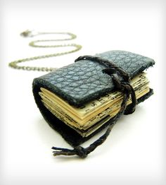 Miniature Book Leather Journal Necklace