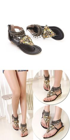 3cdfc04ae126 Sandals jamaica wedding bohemian bead chain metal pu retro clip toe zipper flat  beach outdoor comfortable ankle sandals  0  drop  sandals  p  monjo  sandals  ...