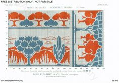 D.M.C. Point de Croix Nouveaux Dessins (1re Série) page 15. Art nouveau borders and corners, trees, red and blue