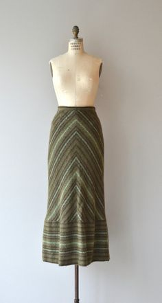 Vintage green mohair maxi skirt with shades of green stripes. Lined.  --- M E A S U R E M E N T S ---  fits like: small waist: 26 hip: up to 38