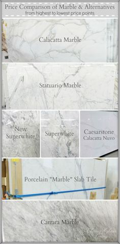 Our Marble Alternative Kitchen Counterop Revealed Price Comparison Of Marble Amp Alternatives From Highest To Lowest Price Points Classy Glam Living Countertop Concrete, Kitchen Countertop Materials, Marble Countertops Price, Porcelain Countertops, Porcelain Marble Bathroom, White Marble Bathrooms, Kitchen Counters, Kitchen Islands, Kitchens