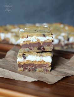 Chocolate chip cookie peanut butter s'mores bars.