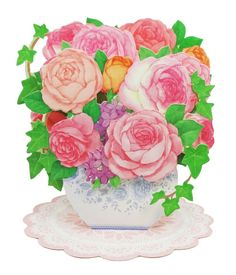 Valentine's Day Flowers in Vase - Roses and Ivy - Pop Up Greeting Card #FlowerBouquet #ValentinesDay #Birthday #MothersDay