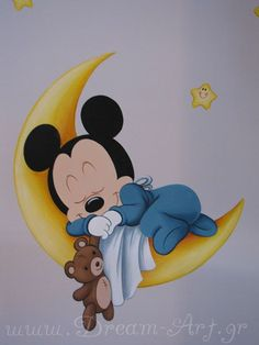 mickey mouse - New Site Baby Mickey, Mickey Mouse Art, Mickey Mouse Wallpaper, Cute Disney Wallpaper, Disney Baby Rooms, Disney Babys, Disney Nursery, Disney House, Kids Room Murals