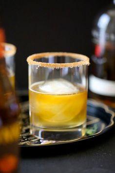 Ginger Pumpkin Bourbon Fizz with Cinnamon Sugar