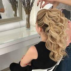 Hairstyle video tutorial hair tutorial in 2019 hair styles, Easy Hairstyles For Long Hair, Bride Hairstyles, 1980s Hairstyles, Curly Ponytail Hairstyles, Dinner Hairstyles, Wedding Guest Hairstyles Long, Pageant Hairstyles, Ponytail Updo, Loose Hairstyles