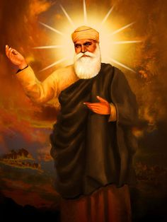Guru Nanak the founder of Sikhism and first of the ten gurus. He travelled far and wide teaching people the message of One God who dwells in everyone. The halo surrounding his head symbolises his saintliness and wisdom.