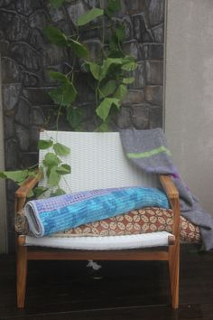 White rattan and teak lay back chair by TuttiAbode on Etsy