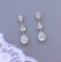 Crystal Bridal Earrings Bridal Drop Earrings Crystal by JamJewels1