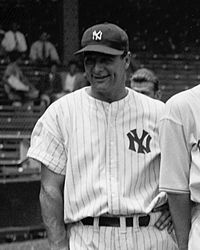 """JULY 4, 1939:  Honored at Lou Gehrig Day at Yankee Stadium,  Gehrig told the crowd the that he was """"the luckiest man on the face of the earth.""""  Gehrig had retired from the Yankees due to amyotrophic lateral sclerosis.  image  Gehrig cropped.jpg"""