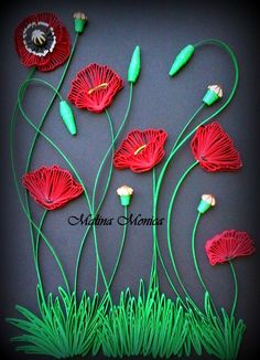Quilling poppies
