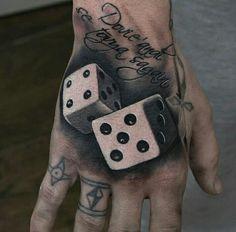 Hand Tattoo Designs For Men Hand Tattoos, Sleeve Tattoos, Tattoos For Women, Tattoos For Guys, Dice Tattoo, 3d Hand, Gambling Machines, My Birthday Cake, Happy Birthday