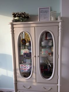 Vintage | Cupboard | White China Cabinet, Cupboard, Liquor Cabinet, Storage, Room, Vintage, Furniture, Home Decor, Clothes Stand