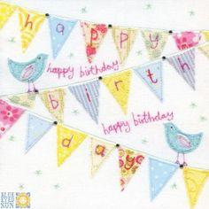 Bunting and bluebirds Happy Birthday card
