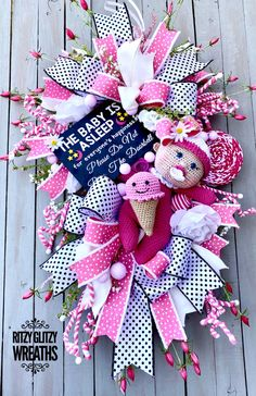 Baby Boy Wreath, Baby Shower Gifts, Baby Gifts, White Roses, Pink White, Tulle Wreath, Deco Mesh Wreaths, Handmade Baby, Purple Flowers