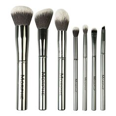 Housed in a silver quilted travel case this 7 piece gun metal finish brush set caters to all your beauty needs. Set 699 The Gun Metal set i