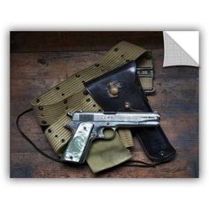 ArtWall Antonio Raggio ' Colt And Holster ' Art Appealz Removable Wall Art, Size: 36 x 48, Green