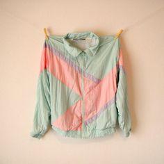 Vintage. 80's Pastel Windbreaker Jacket. Color Block