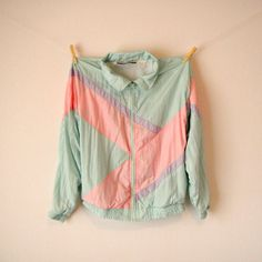 Vintage. 80's Pastel Windbreaker Jacket. Color Block