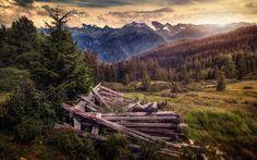Scarica sfondi Montagna, paesaggio, tramonto, foresta, montagna, valle, Serfaus, Tirolo, Austria