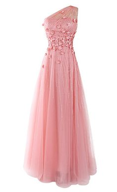 Pink One-Shoulder Beaded Applique Tulle Sexy Party prom dresses 2017 new style fashion evening gowns for teens girls