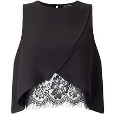 Miss Selfridge Black Lace Insert Shell Blouse