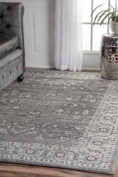 Dark Grey Area Rugs Traditional Vintage Bloom In Blossom | Rugs ...