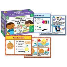 This CenterSOLUTIONS set by Key Education, On My Own: Year-Round Art Fun, includes 30 activity cards plus 3 dividers. Because of the simple step-by-step instructions drawn for each step of the project