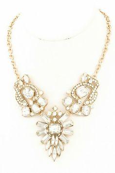 Crystal studded glass stone and acrylic jewel necklace. #salediem #jewelry #gold #accessories