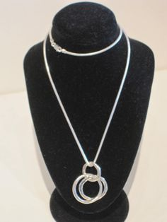 Sterling Silver 3 Hoop Necklace by Tay Silver