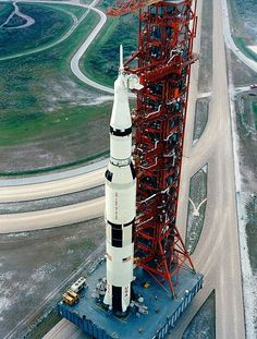 A Saturn V carrying Apollo 15 rolls out to Pad 39A in 1971 on mobile launch platform.